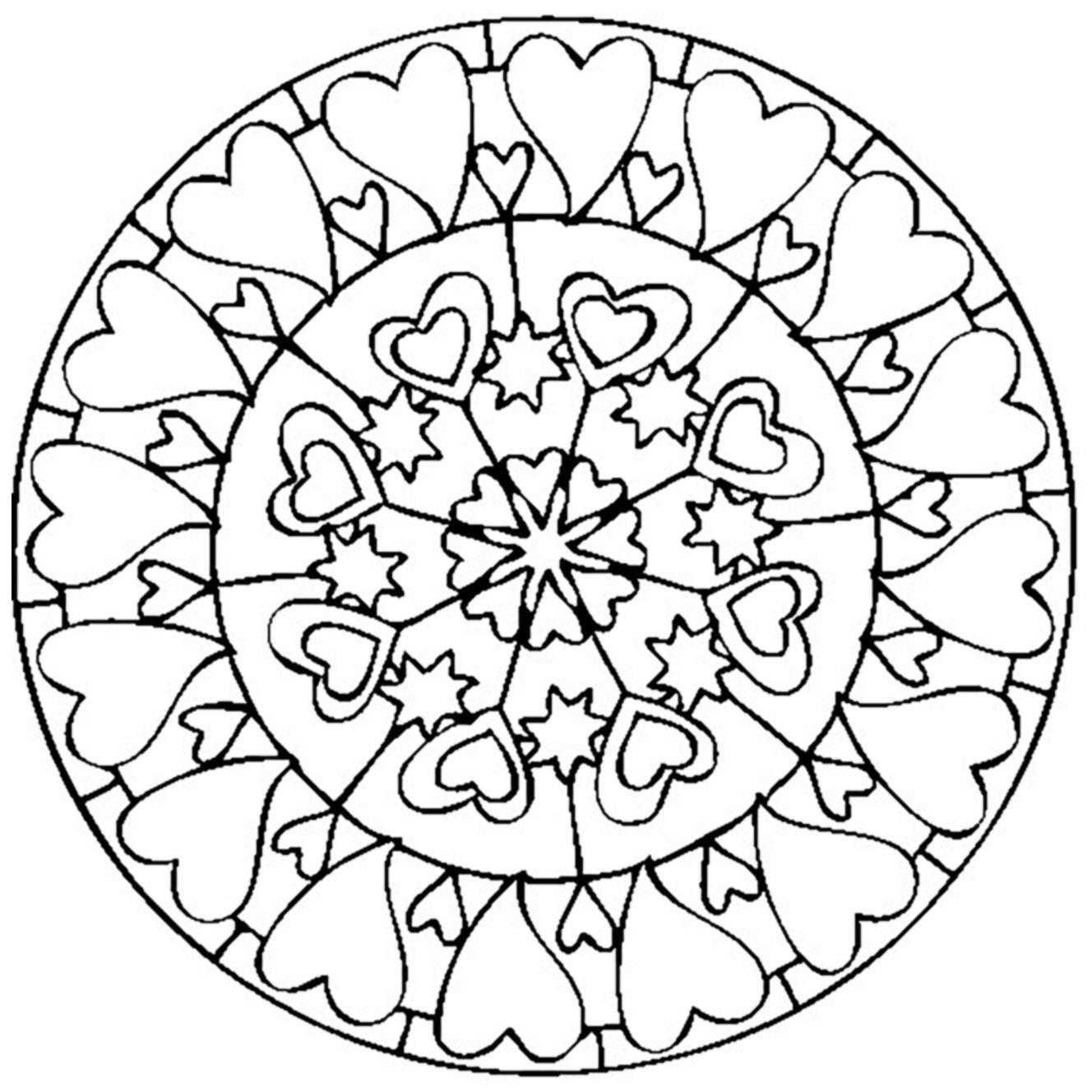 Coloriage De Mandala Damour A Imprimer.Mandala Saint Valentin Amour Mandalas Coloriages Difficiles Pour