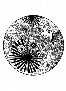 Coloriage adulte elanise art mandala fleuri
