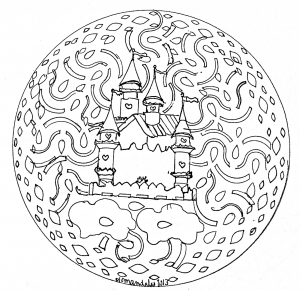 coloriage-adulte-mandala-domandalas-chateau free to print