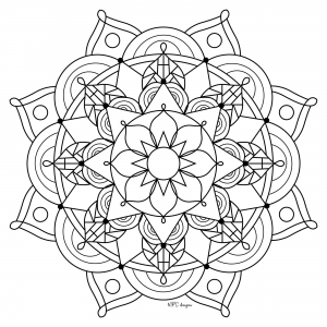 Coloriage adulte mandala mpc design 10