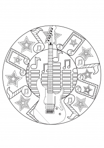 Coloriage adulte mandala musique
