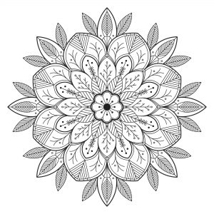 Simple Mandala fleuri & feuillu