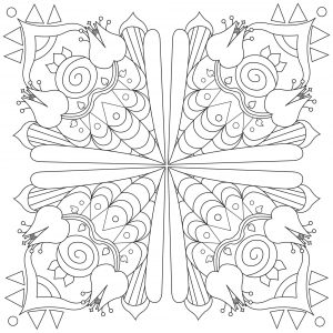 Mandala carré fleuri
