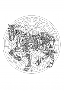 Coloriage mandala cheval 1