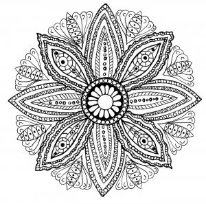 coloriage mandala feuilles free to print