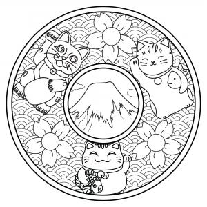 Mandala avec trois Maneki Neko