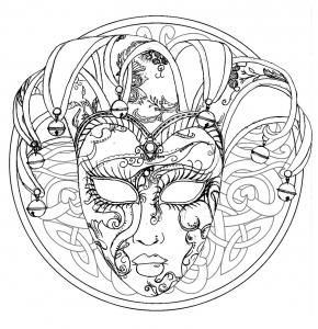 coloriage-mandala-masque-du-carnaval-de-venise free to print
