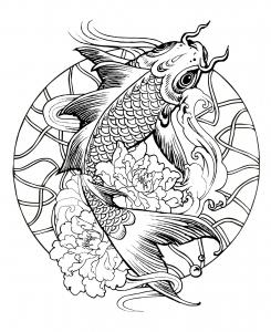 coloriage-mandala-poisson-carpe free to print