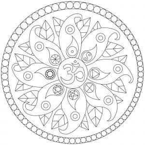 Mandala avec symboles de paix