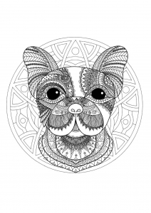 coloriage mandala tete chien 1