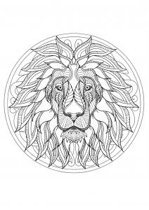 coloriage mandala tete lion 1
