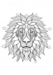 coloriage mandala tete lion 2