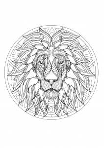 Coloriage mandala tete lion 3