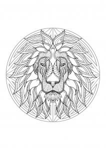 Coloriage mandala tete lion 4