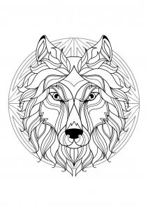 coloriage mandala tete loup 1