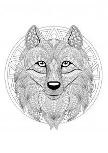Coloriage mandala tete loup 2