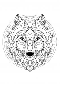 Coloriage mandala tete loup 3