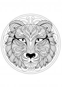 Coloriage mandala tete tigre 1
