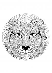 Coloriage mandala tete tigre 2