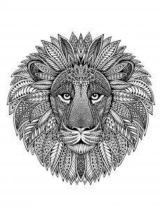 coloriage tete de lion en mandala