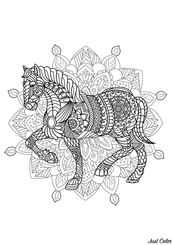 Mandala Cheval 2 Mandalas Coloriages Difficiles Pour Adultes