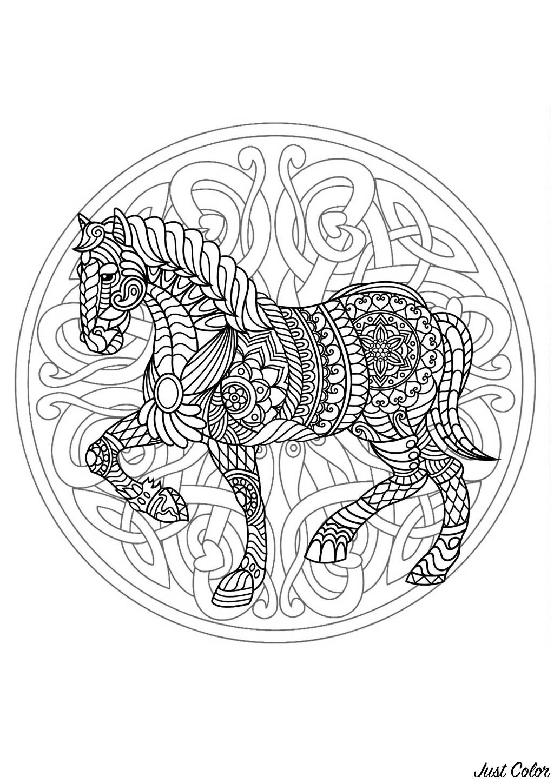 Mandala composé d'un cheval majestueux - 3