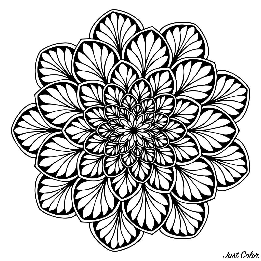 Un Mandala avec des zones assez sombres pour vous permettre de mettre en valeur vos couleurs