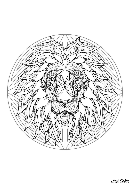 Coloriage De Lion Difficile.Mandala Tete Lion 4 Mandalas Coloriages Difficiles Pour