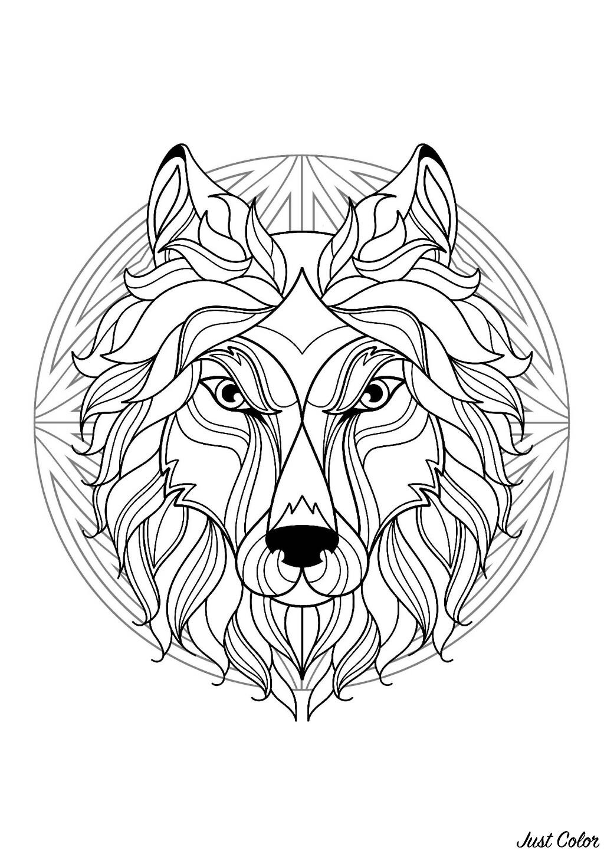 Mandala tete loup 1 mandalas coloriages difficiles pour adultes - Tete de loup dessin ...