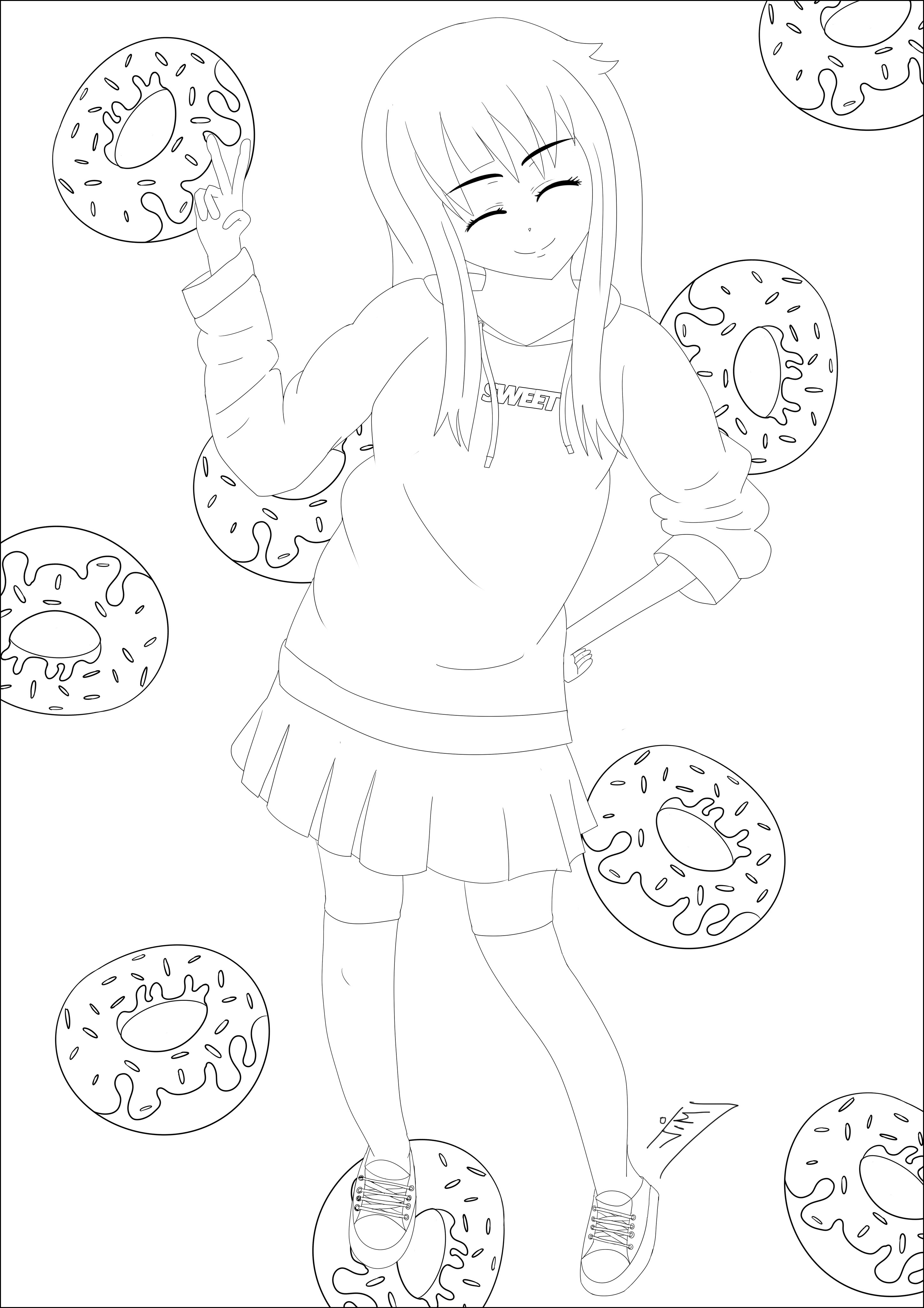 Sweet Donuts Girl Mangas Animes Coloriages Difficiles Pour