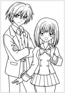 Coloriage garcon et fille manga tenue scolaire