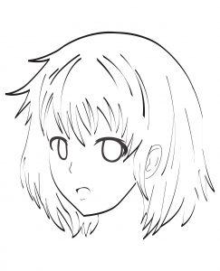 Coloriage visage manga par celine