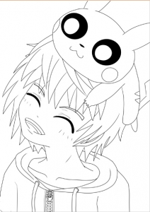 Coloriage adulte pokemon garçon pikachu