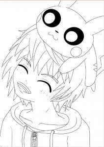 coloriage-adulte-pokemon-garçon-pikachu free to print