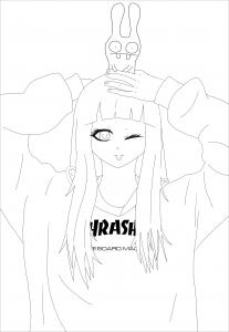 Coloriage adulte anime thrasher girl
