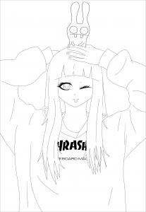 coloriage-adulte-anime-thrasher girl free to print