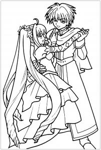 coloriage-danse-en-tenue-de-bal-manga free to print