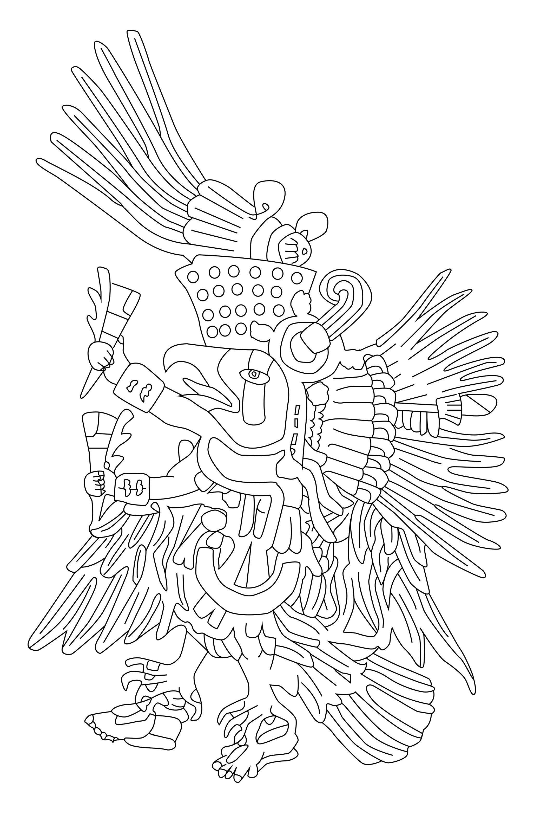 Quetzalcoatl est le nom donné, dans le centre du Mexique, à l'une des incarnations du serpent à plumes, qui était une des principales divinités pan-mésoaméricaines. Colorez-le !