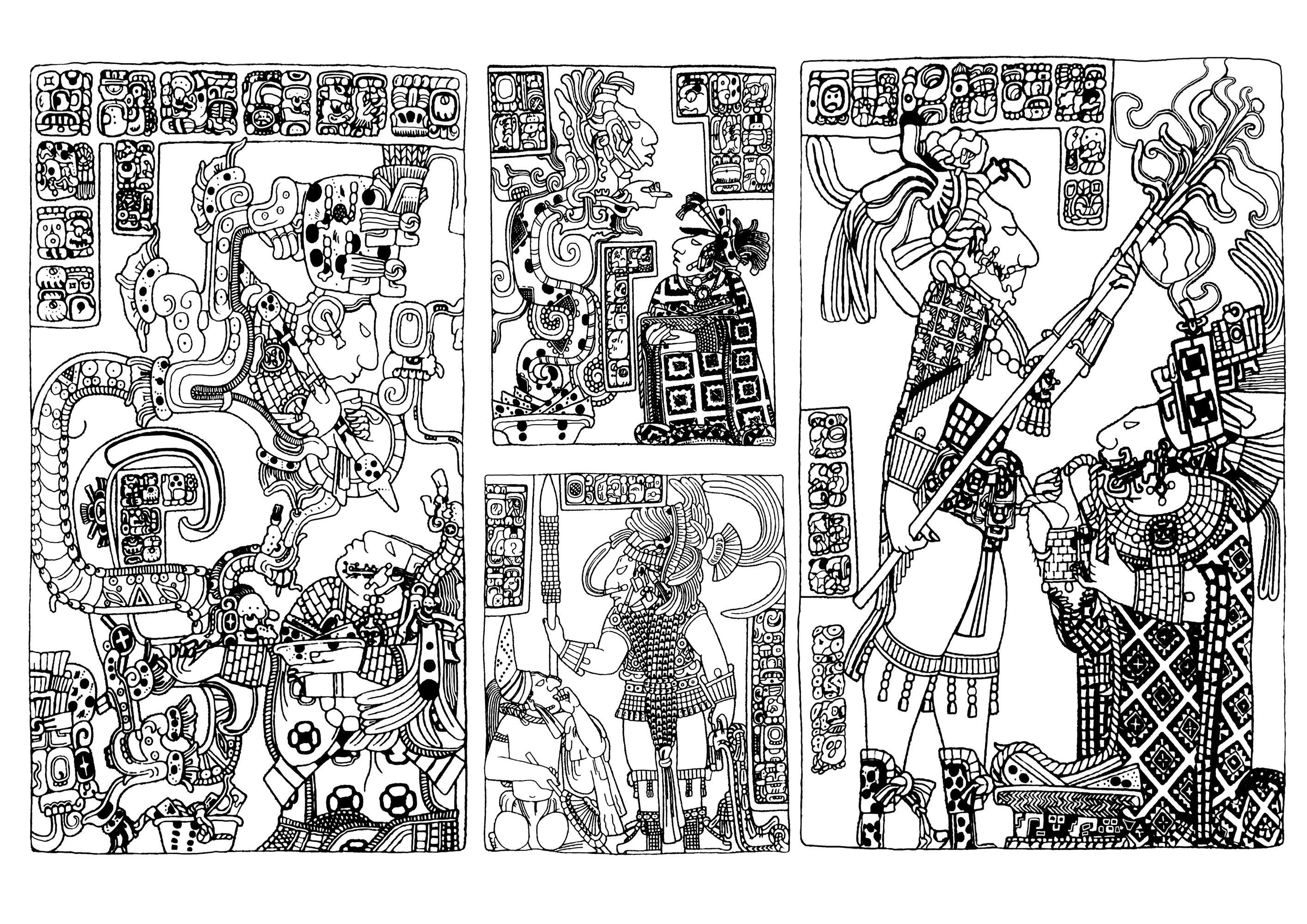 Coloriage très complexe créé à partir de plusieurs panneaux sculpté Maya datant de la Seconde moitié du 8e siècle, visible au British Museum (Londres).