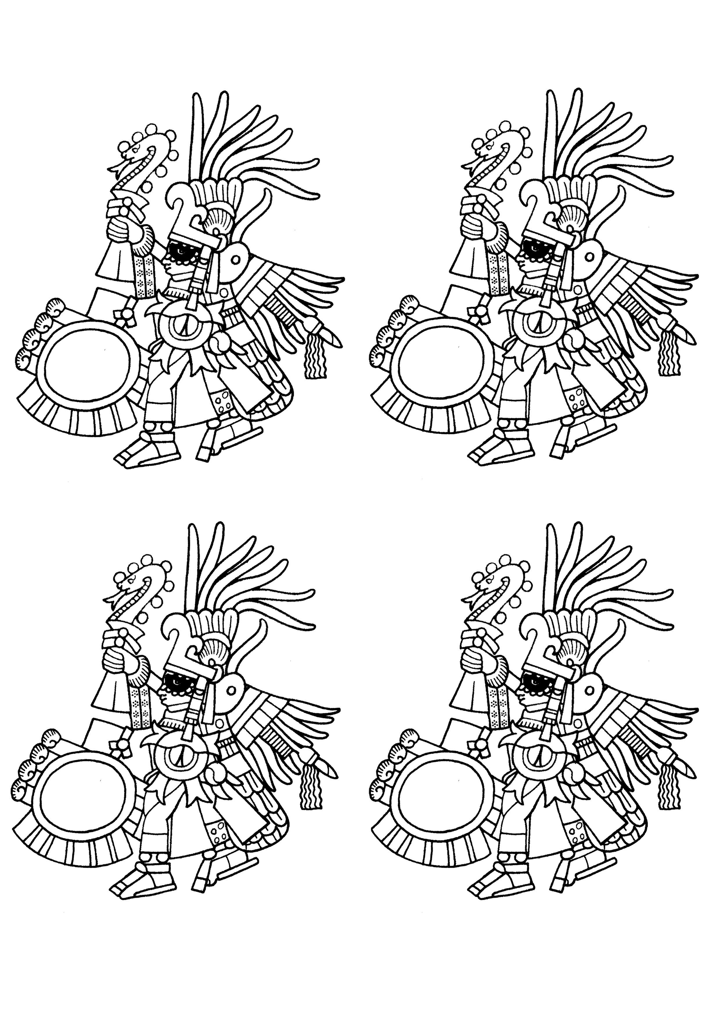 Huitzilopochtli, Dieu Aztèque de la Guerre, brandissant un bâton à l'effigie de Xiuhcoatl le 'serpent de feu'. Version avec quatre éléments.