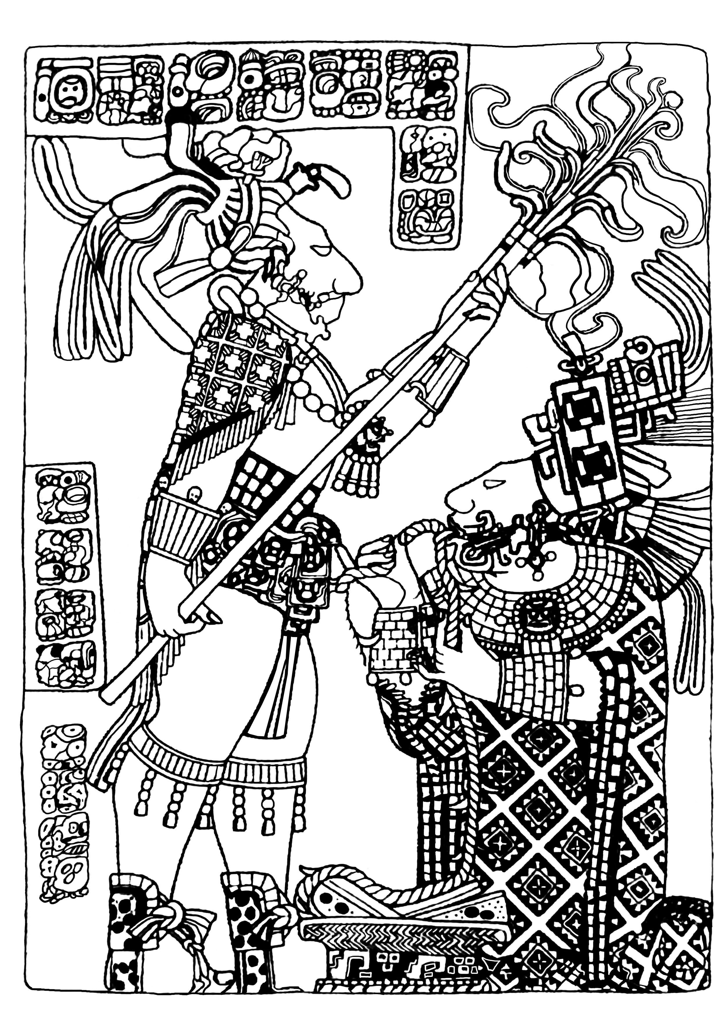 Coloriage art maya british museum 4