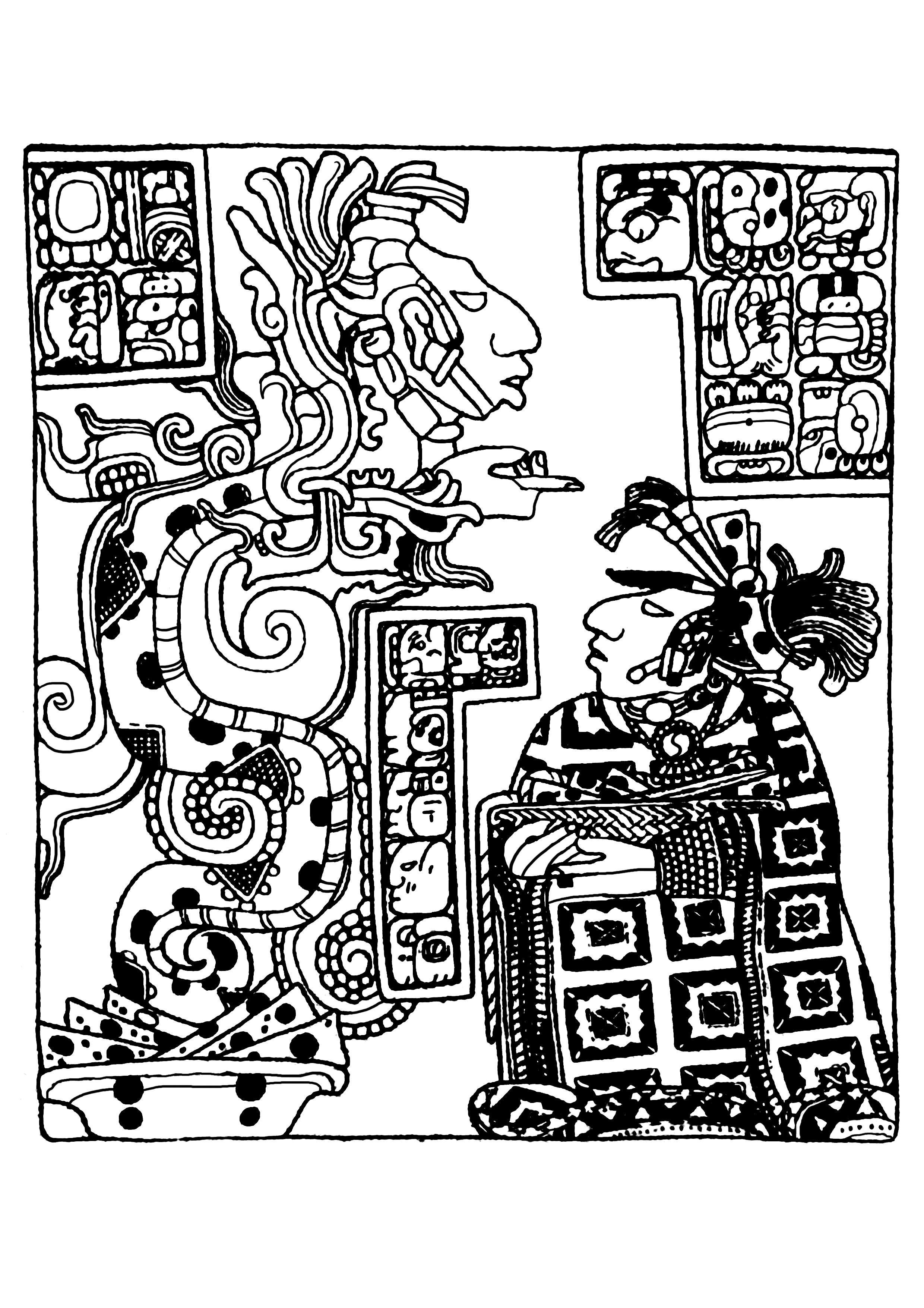 Coloriage complexe créé à partir d'un panneau sculpté Maya datant de la Seconde moitié du 8e siècle, visible au British Museum (Londres).