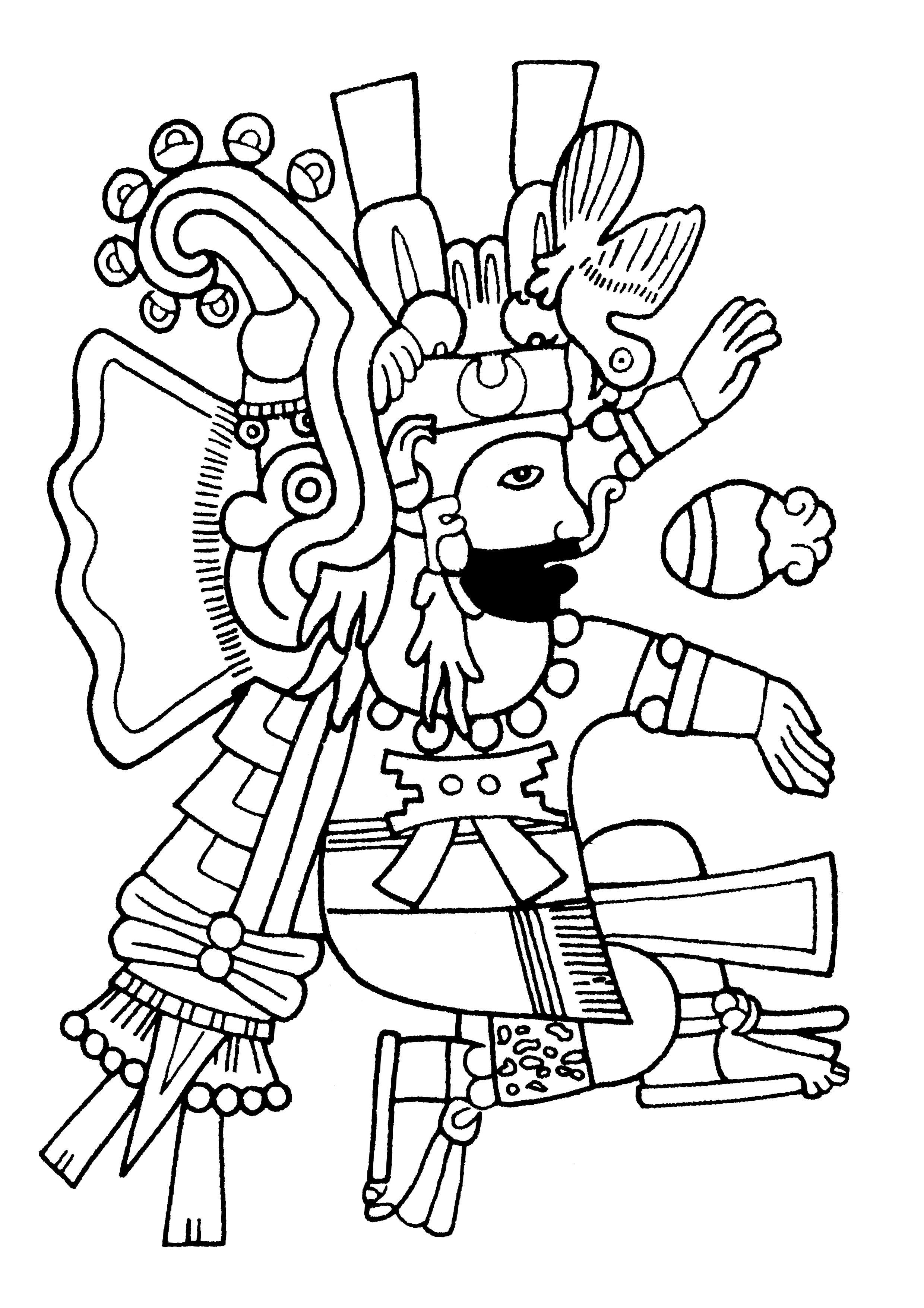 Homme déguisé en Xiuhtecuhtli le Dieu du feu et du temps, avec un costume de Xiuhcoatl le 'serpent de feu'