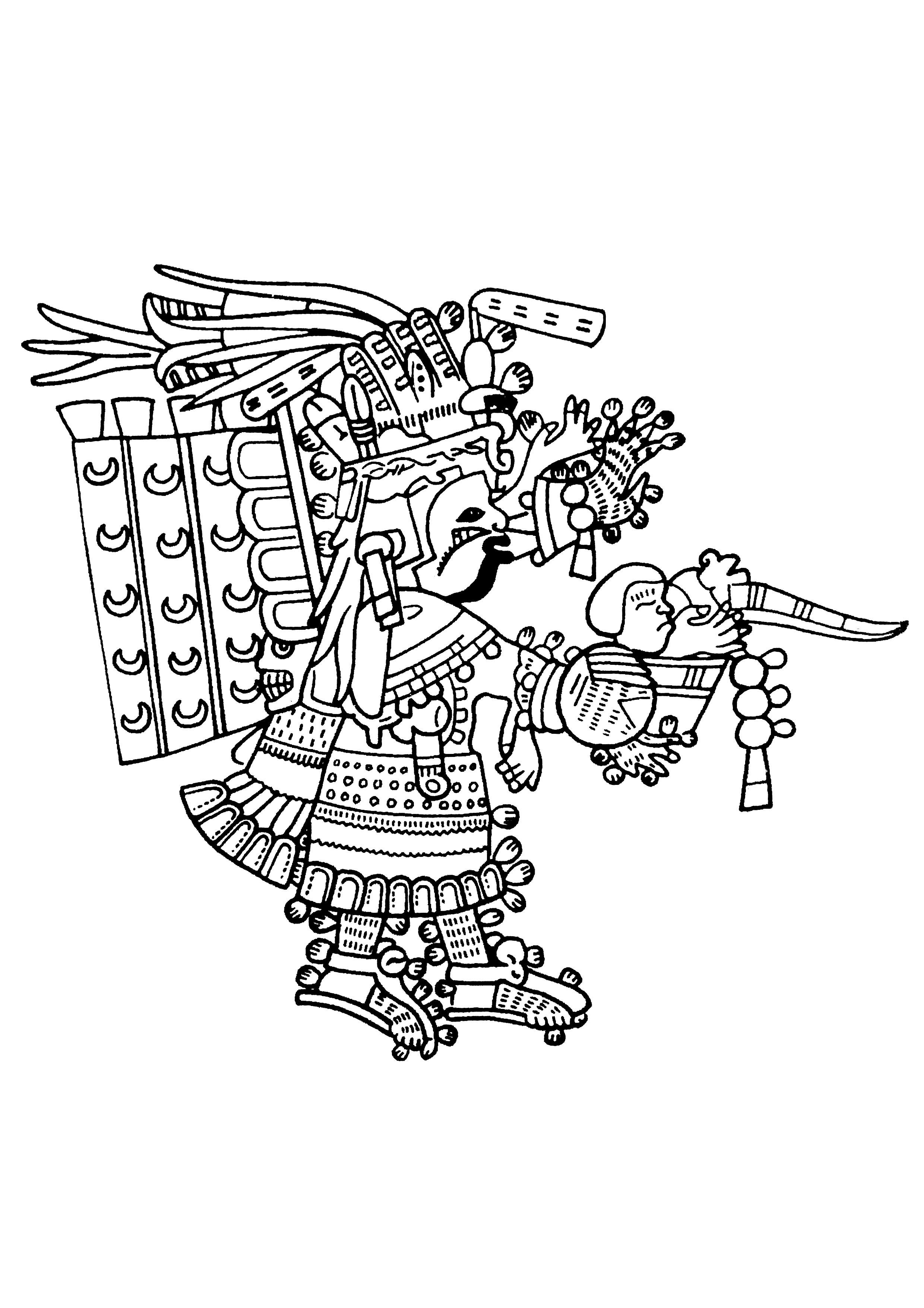 Coloriage créé à partir d'un panneau sculpté Maya datant de la Seconde moitié du 8e siècle, visible au British Museum (Londres).
