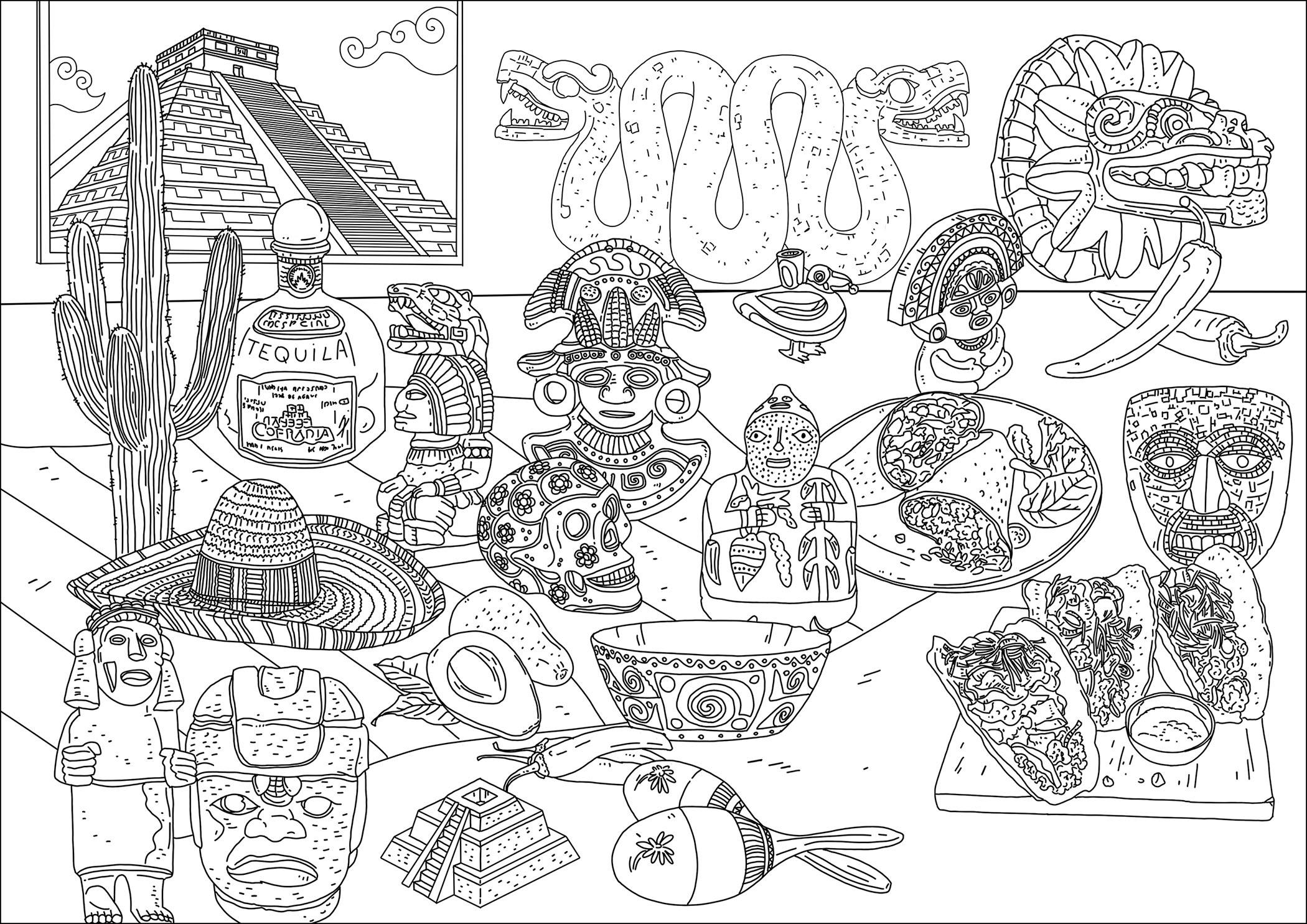Différents symboles du Mexique. Temple, masques et statuettes maya / incas / aztèques, nourriture ...