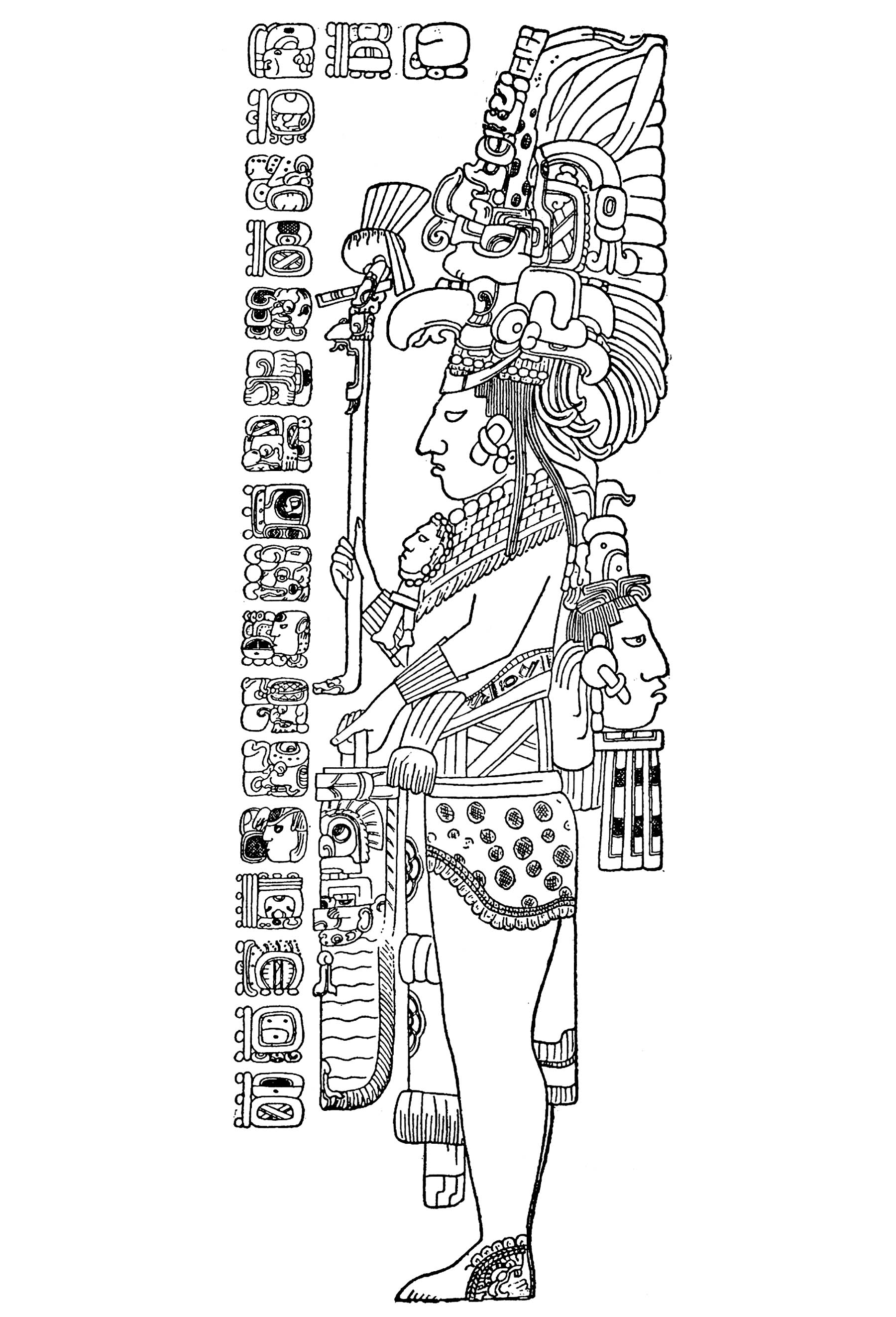 'Stèle Tzendales' : Dessin publié par Herbert Spinden en 1913, dans une étude de l'Art Maya