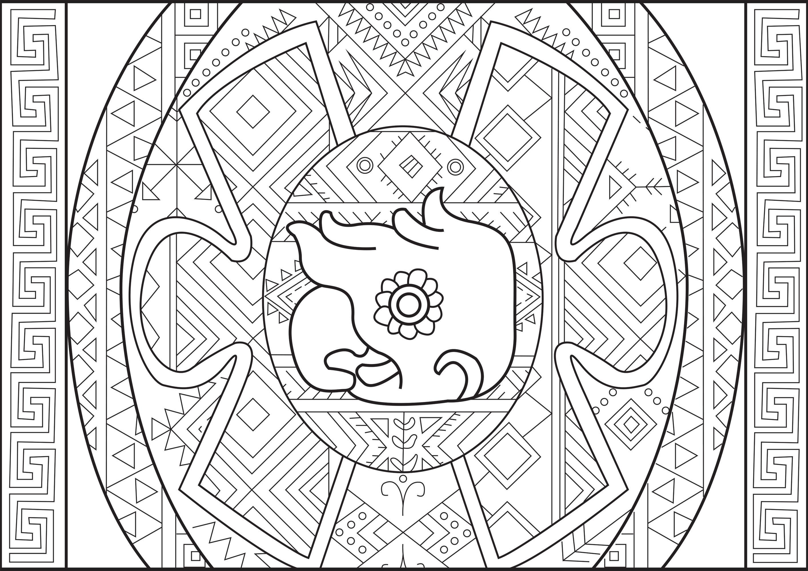 Coloriage représentant une tête de perroquet Maya avec des Motifs variés autour (style Aztèque / Maya)