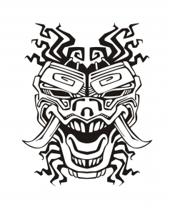 Coloriage adulte masque inspiration inca maya azteque 2