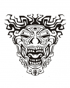 Coloriage adulte masque inspiration inca maya azteque 3
