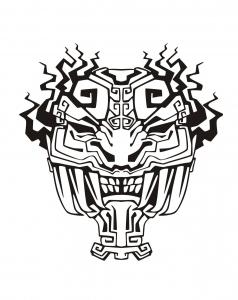 Coloriage adulte masque inspiration inca maya azteque 4